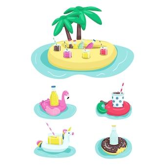 Conjunto de objetos de cor plana de suportes de bebida inflável