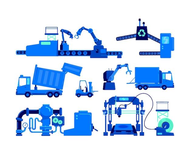 Conjunto de objetos de cor plana para equipamentos de produção