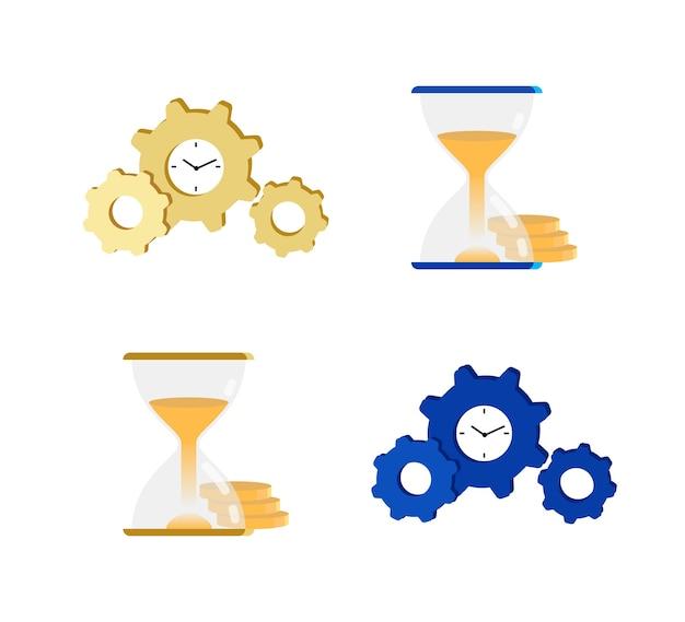 Conjunto de objetos de cores planas de gerenciamento de tempo. produtividade. aumentando a eficiência. vidro de areia. relógio. desenho isolado contagem regressiva