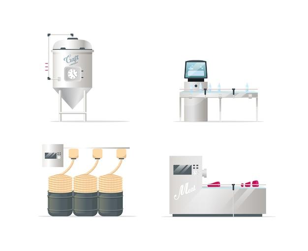 Conjunto de objetos de cores planas de tecnologias de processamento de mercadorias. fabricação de cerveja artesanal. produção de sabões e têxteis. açougue. cartoon isolado