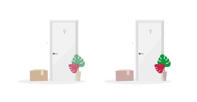 Conjunto de objetos de cores planas para entrega de encomendas. serviços de entrega ao domicílio e porta a porta. caixas de correio perto de uma porta isolada