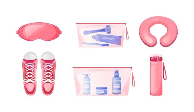 Conjunto de objetos de cores planas para viagens confortáveis. almofada de pescoço. máscara de dormir. sapatos, tênis para viagem. ilustração em desenho isolado 2d de fundamentos de voo de longo curso no fundo branco