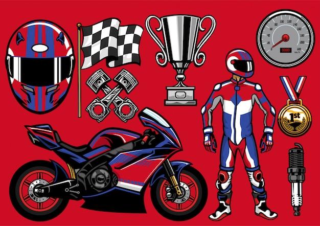Conjunto de objetos de corrida sportbike