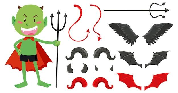 Conjunto de objetos de demônio e anjo