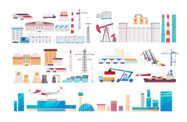 Conjunto de objetos de desenho animado de fábrica