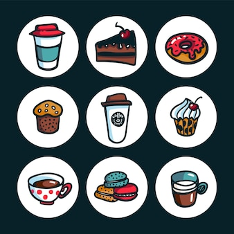 Conjunto de objetos de desenho animado em estilo rabisco colorido sobre o tema do café