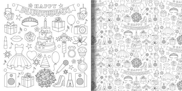 Conjunto de objetos de doodle de aniversário de menina e padrão sem emenda