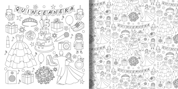 Conjunto de objetos de doodle quinceanera e padrão uniforme