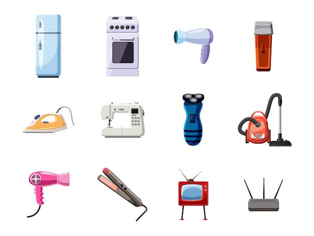 Conjunto de objetos de eletrodomésticos. conjunto de desenhos animados de eletrodomésticos