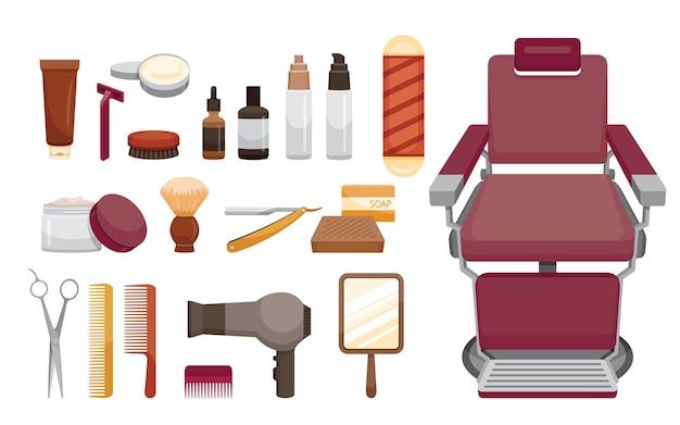 Conjunto de objetos de equipamentos de barbearia