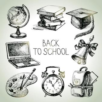 Conjunto de objetos de escola de vetor de mão desenhada. ilustrações de volta às aulas