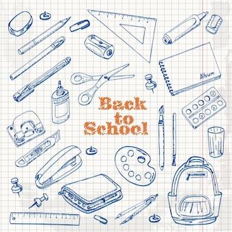 Conjunto de objetos de escola no estilo de desenho