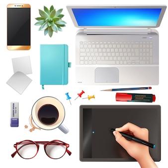 Conjunto de objetos de escritório 3d