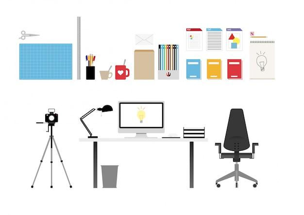 Conjunto de objetos de escritório