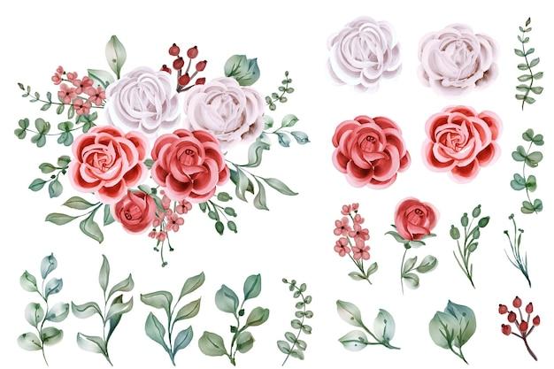 Conjunto de objetos de flores isoladas em aquarela rosa
