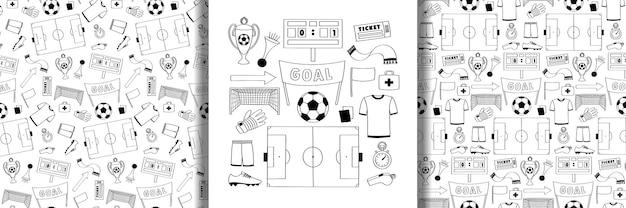 Conjunto de objetos de futebol e conjunto de padrões sem emenda