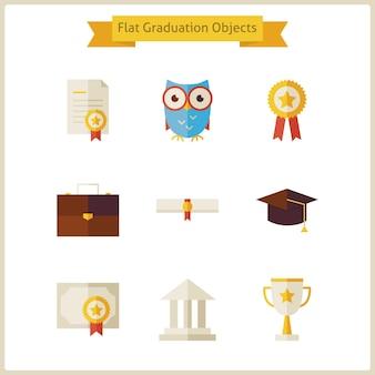 Conjunto de objetos de graduação e sucesso de escola plana. de volta à escola. conjunto de ciência e educação. coleção de objetos escolares e universitários isolados sobre o branco.