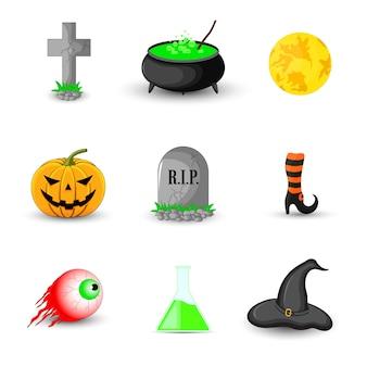 Conjunto de objetos de halloween em fundo branco