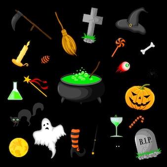 Conjunto de objetos de halloween isolado