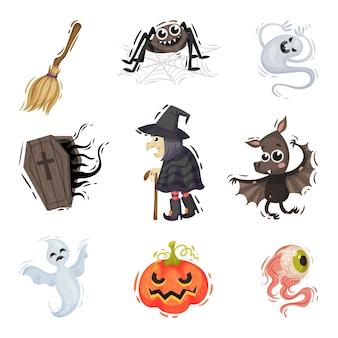 Conjunto de objetos de halloween isolados no branco
