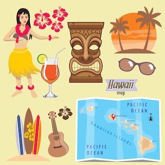 Conjunto de objetos de havaí