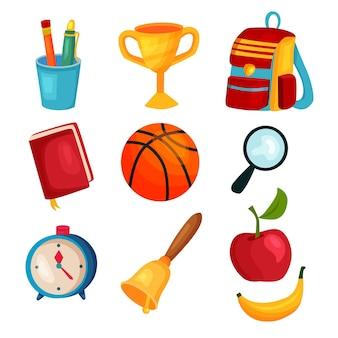 Conjunto de objetos de ícone de item escolar