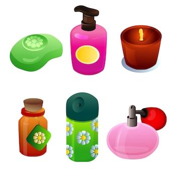 Conjunto de objetos de item de vidro para cosméticos