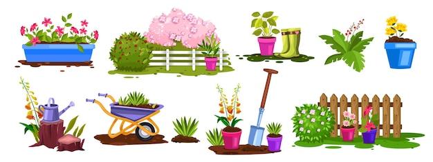 Conjunto de objetos de jardinagem botânica de quintal