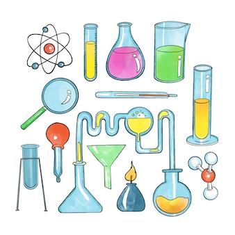 Conjunto de objetos de laboratório de ciência de mão desenhada
