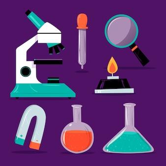 Conjunto de objetos de laboratório de ciências