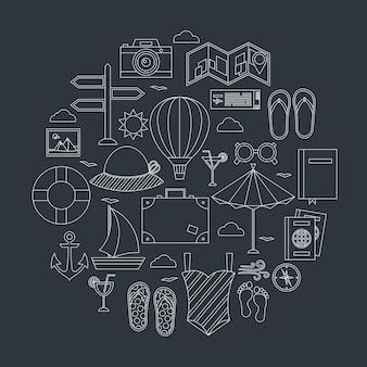 Conjunto de objetos de linha de viagens de verão plana. ilustração em vetor de objetos de férias de verão sobre fundo escuro