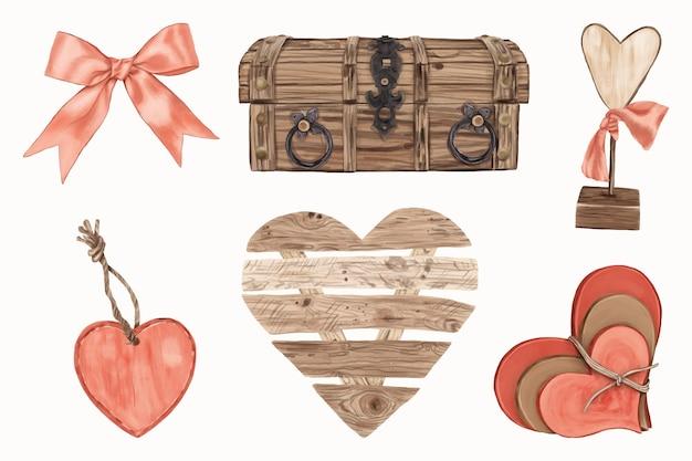 Conjunto de objetos de madeira em forma de coração