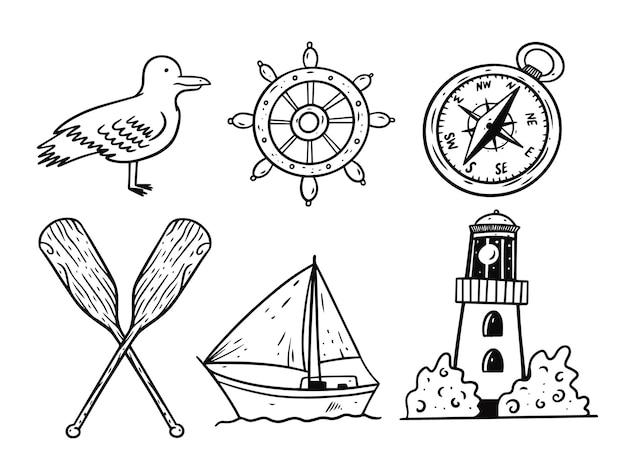 Conjunto de objetos de mar de doodle de estilo gráfico.