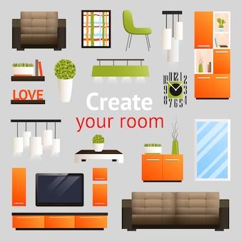 Conjunto de objetos de mobília