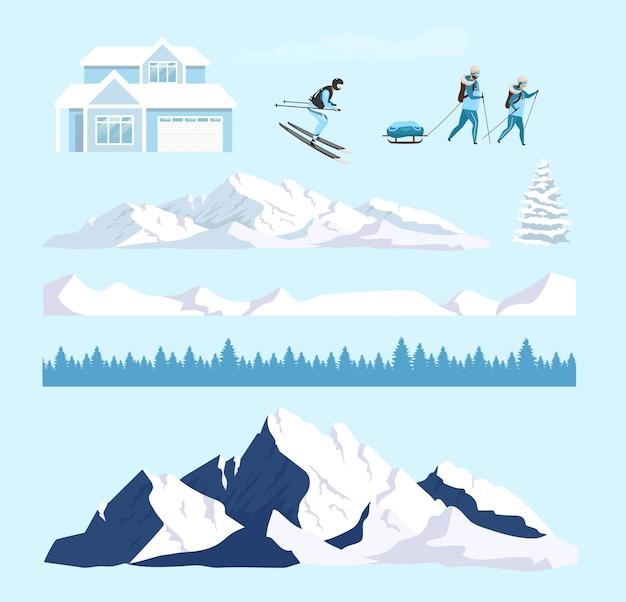 Conjunto de objetos de natureza inverno dos desenhos animados