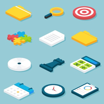 Conjunto de objetos de negócios isométricos planos. ilustração em vetor de conjunto de objetos de conceitos de negócios e vida no escritório