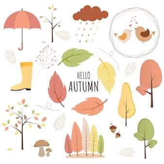 Conjunto de objetos de outono