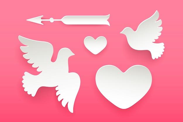 Conjunto de objetos de papel, coração, pombo, pássaro, seta