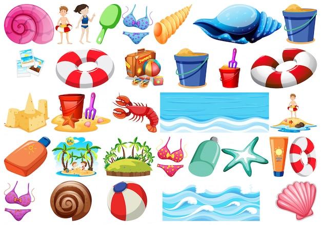 Conjunto de objetos de praia