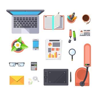 Conjunto de objetos de trabalho de escritório