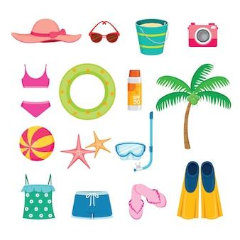 Conjunto de objetos de verão, equipamentos para viagens marítimas