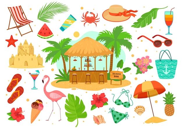 Conjunto de objetos de verão, mar, praia