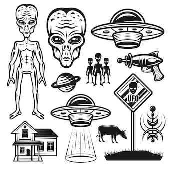 Conjunto de objetos de vetor ou elementos gráficos de alienígenas e ovnis em estilo vintage monocromático isolado no fundo branco