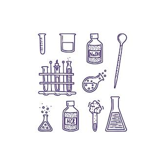 Conjunto de objetos desenhados à mão associados à química e experimentos