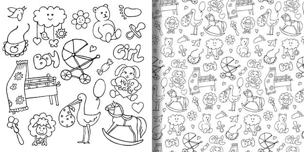 Conjunto de objetos desenhados à mão de bebê e padrão sem emenda