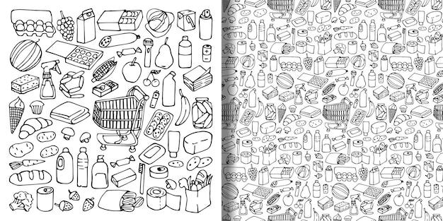 Conjunto de objetos desenhados à mão de supermercado e padrão sem emenda