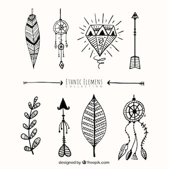 Conjunto de objetos desenhos étnicos