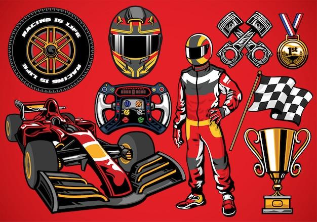 Conjunto de objetos detalhados de carros de corrida de fórmula