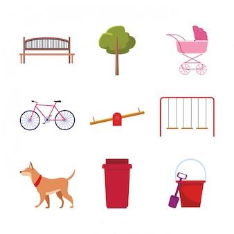 Conjunto de objetos do parque e cachorro