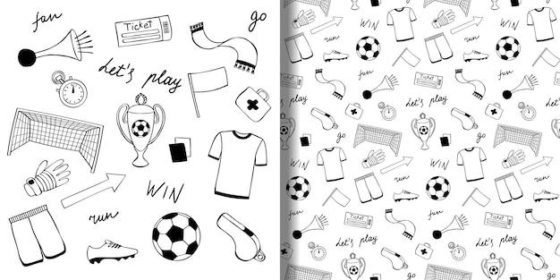 Conjunto de objetos doodle de futebol e padrão sem emenda